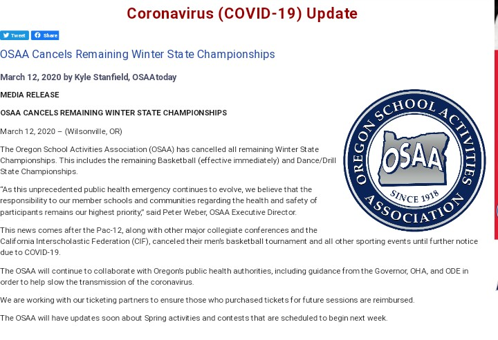 The OSAA updates as more information is available to athletes